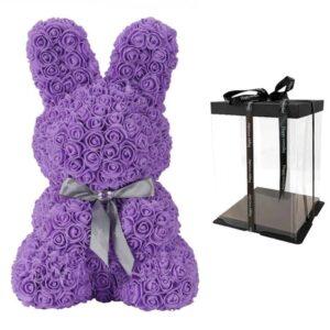 lapin en rose éternelle violet avec boite