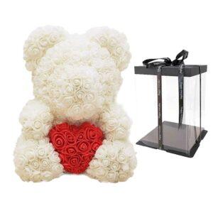 ours en rose éternelle beige coeur avec boite
