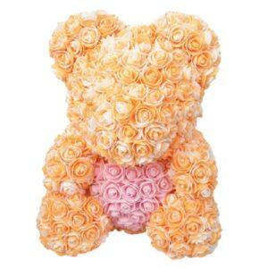 Bouquet de rose en ours bicolore orange 35 cm