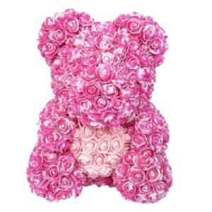 Ours en rose fleur bicolore rose 35 cm