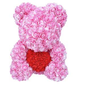 Nounours fleur éternelle bicolore rose pale 35 cm