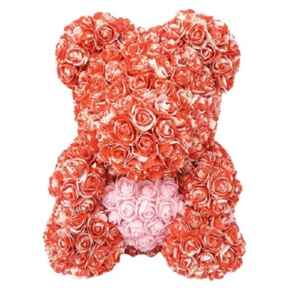 nounours en rose éternelle bicolore rouge 35 cm