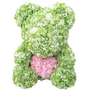 Ours en fleur artificielle bicolore vert 35 cm