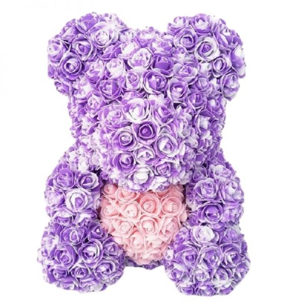 Doudou en rose éternelle bicolore violet 35 cm