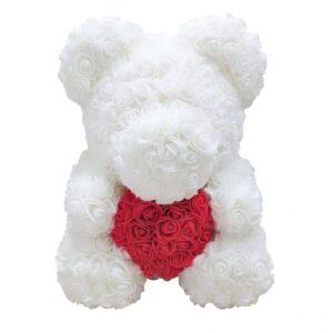 Ours en rose blanche 40 cm