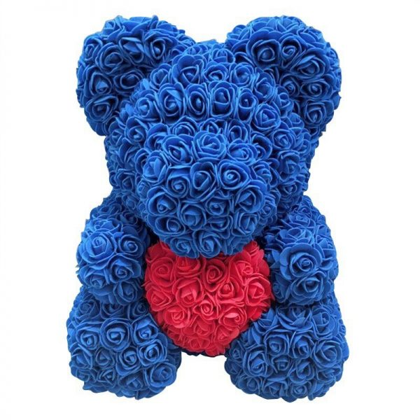 Ours en rose éternelle bleue coeur 40 cm