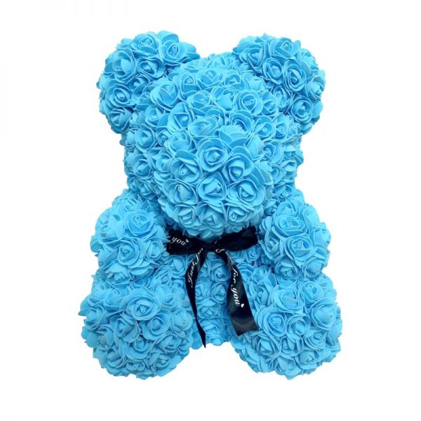 Ourson de rose éternelle bleu 40 cm