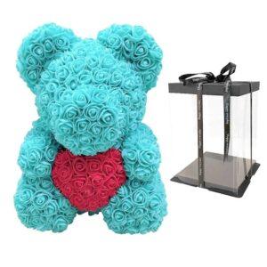 ours en rose artificielle cyan coeur avec boite