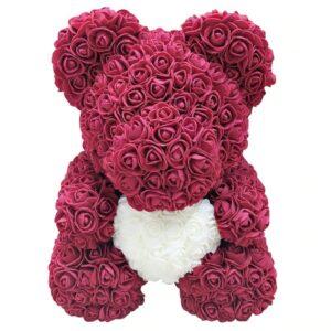 Ours en roses éternelles fuchsia coeur 40 cm