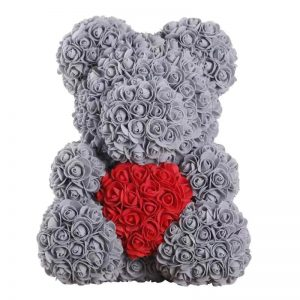 Ours avec coeur en rose éternelle