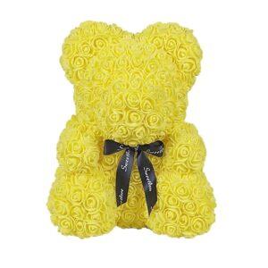 Rose éternelle en Ours jaune 40 cm