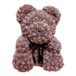 L Ours en rose éternelle marron 40 cm