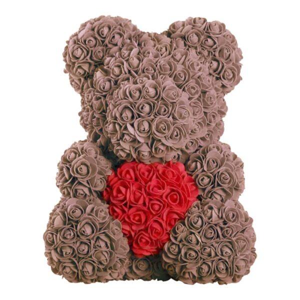 Ours en rose éternelle marron coeur 40 cm