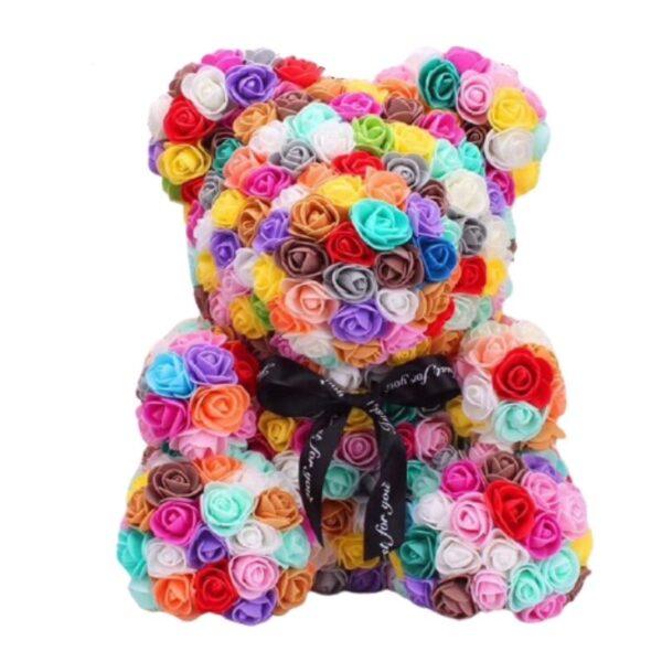 Ours en peluche avec des roses éternelles multicolore 35 cm