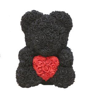 Nounours en fleur noir coeur 40 cm