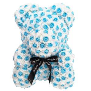 Ourson en fleur éternelle à pois bleu 35 cm