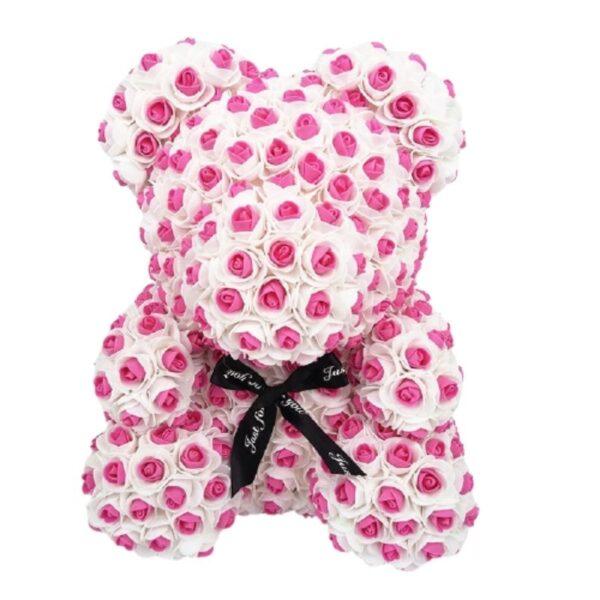 Rose éternelle ours à pois rose 35 cm