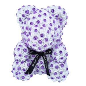 Doudou en rose éternelle à pois violet 35 cm