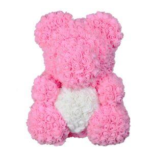 Ours en fleur rose éternelle rose coeur 40 cm