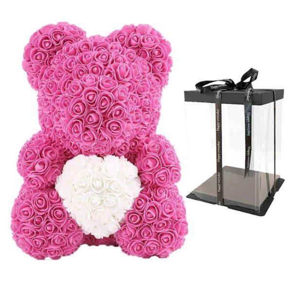 ours en rose 40 cm avec boite