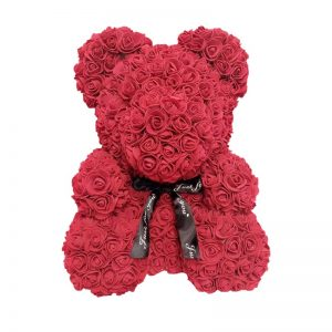 Ours en rose rouge 40 cm