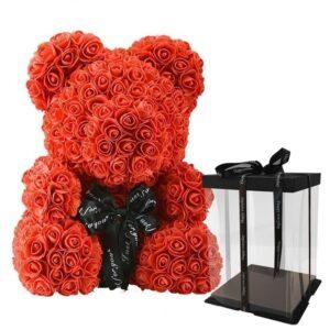 ours rose éternelle rouge avec boite