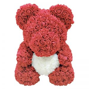 Nounours en rose rouge 40 cm