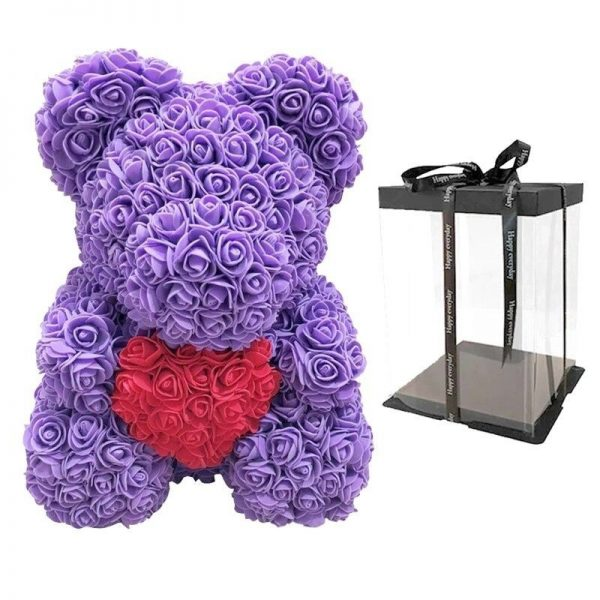 un ours en rose éternelle violet coeur avec boite