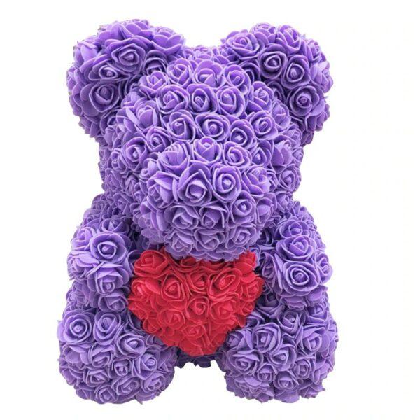 Cadeau saint valentin ours en rose éternelle violet coeur 40 cm