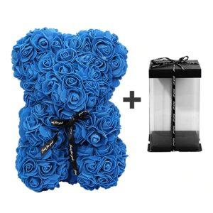 peluche avec rose éternelle bleu avec boite