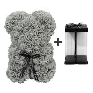 Ours en roses gris avec boite