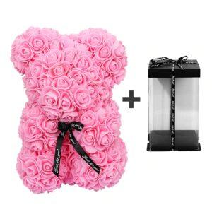 Nounours en fleur rose avec boite