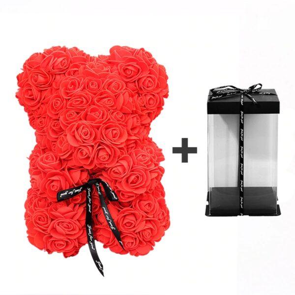Ours en rose rouge avec boite