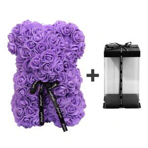 Ours en rose éternelle avec boite violet