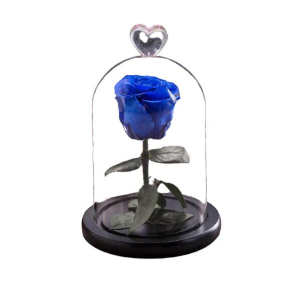 Rose artificielle bleu sous cloche