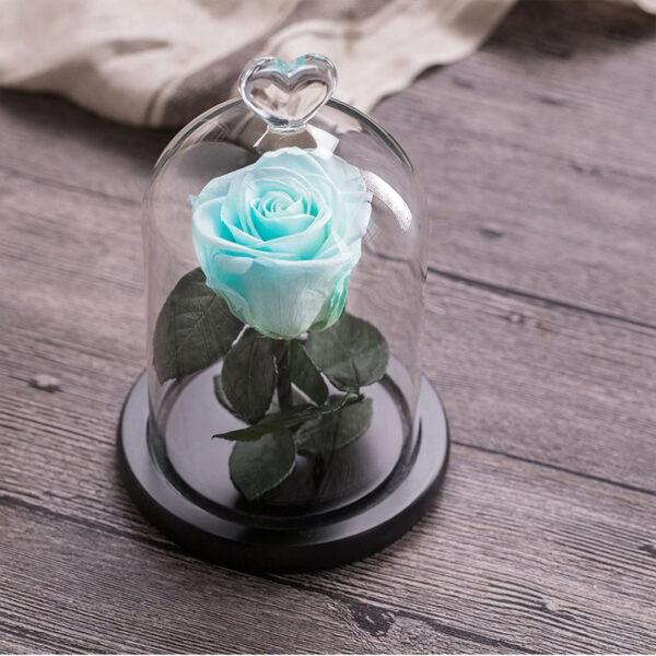 Rose Bleu Artificielle Sous Cloche
