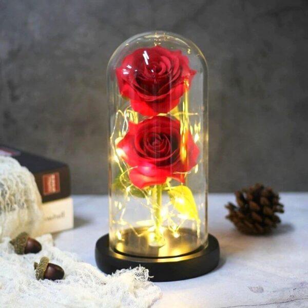 Rose Artificielle rouge sous cloche