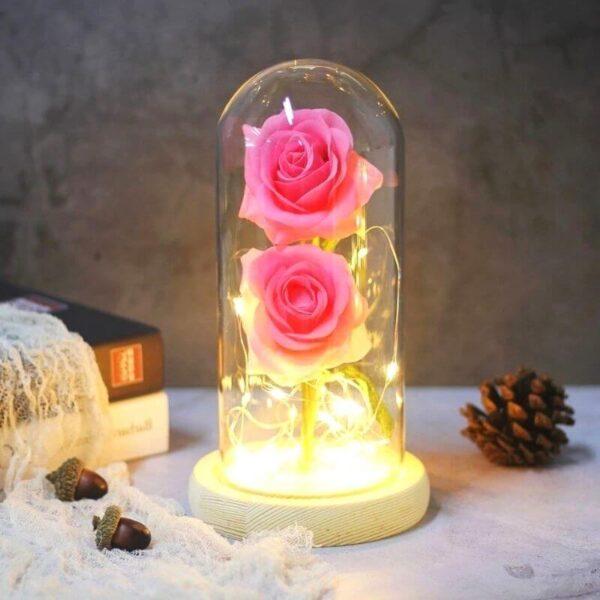 rose éternelle sous cloche avec lumière socle bois