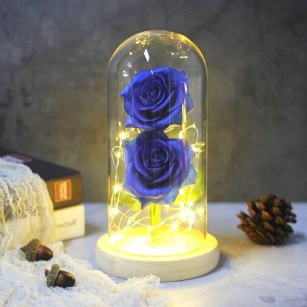 Fleur Artificielle rose bleu socle bois