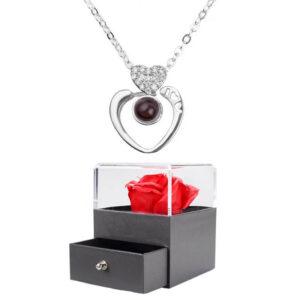 Boite à Bijoux Rose Éternelle - box rose éternelle - collier je t'aime 100 langues