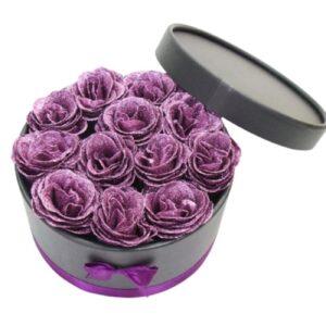 Boite Bouquet de fleurs - boite rose éternelle mauve