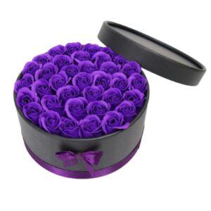 Boite de Fleurs Violettes - Boite rose éternelle violette