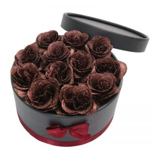Bouquet en Boite - Boite rose éternelle marron