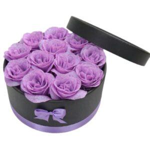 Bouquet Rose dans Boite - Boite rose éternelle lavande