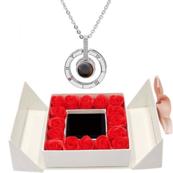 Box de Rose - box rose éternelle - collier je t'aime 100 langues