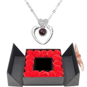 Box de roses éternelles - box rose éternelle - collier je t'aime 100 langues