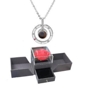 Box Fleur éternelle - box rose éternelle - collier je t'aime 100 langues