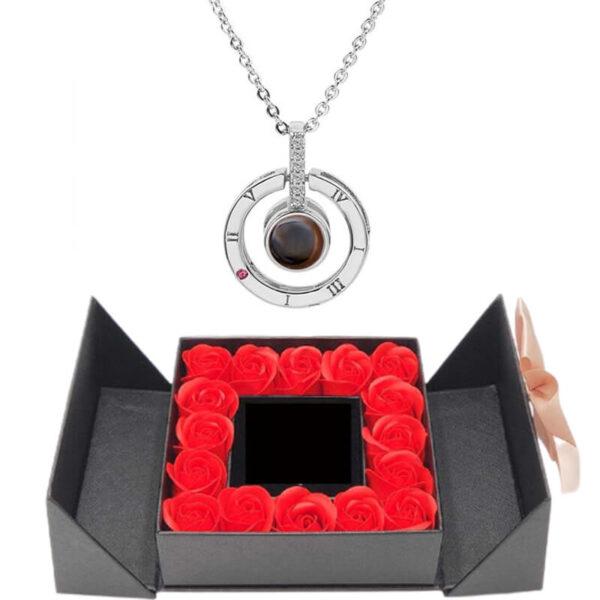 Box Fleurs Éternelles - box rose éternelle - collier je t'aime 100 langues