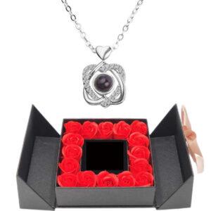 Box Rose - box rose éternelle - collier je t'aime 100 langues