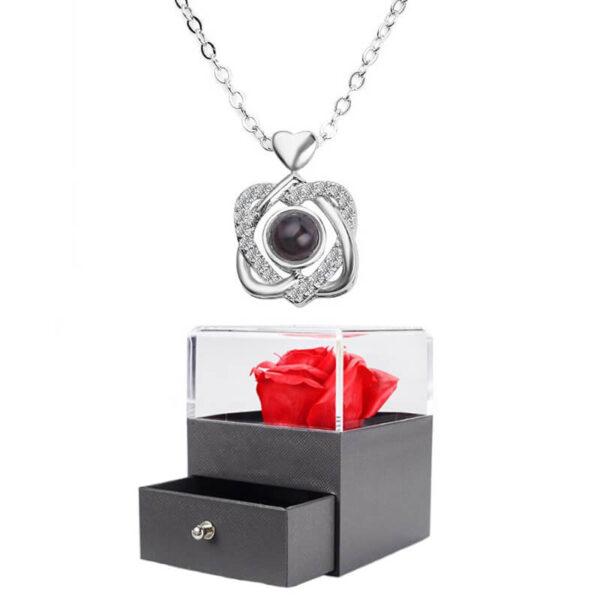 Box Rose Pas Cher - box rose éternelle - collier je t'aime 100 langues